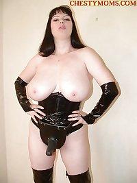 BBW Mature femdom pvc latex leather strapon 22