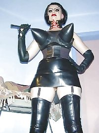 Mature femdom pvc latex leather strapon 12